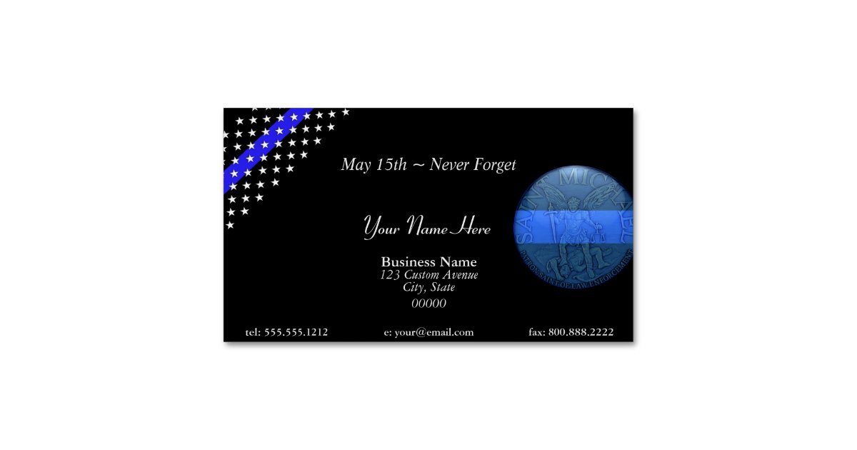 Beautiful Thin Blue Line Police St Michael Business Card Magnet ...
