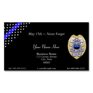 Beautiful Thin Blue Line Police Stars and Stripes Magnetic Business Cards (Pack Of 25)