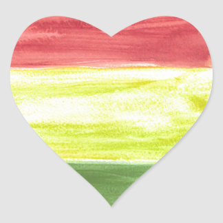 Beautiful three colours watercolour painting heart sticker