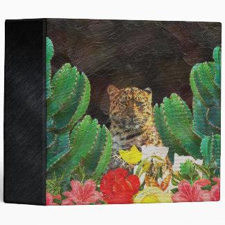 Beautiful Tiger Cactus Floral Oil Painting 3 Ring Binder