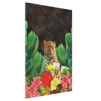 Beautiful Tiger Cactus Floral Oil Painting Canvas Print