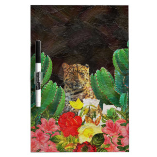Beautiful Tiger Cactus Floral Oil Painting Dry-Erase Board