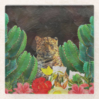 Beautiful Tiger Cactus Floral Oil Painting Glass Coaster
