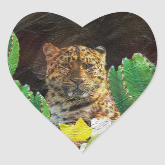 Beautiful Tiger Cactus Floral Oil Painting Heart Sticker