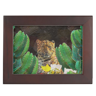 Beautiful Tiger Cactus Floral Oil Painting Keepsake Box