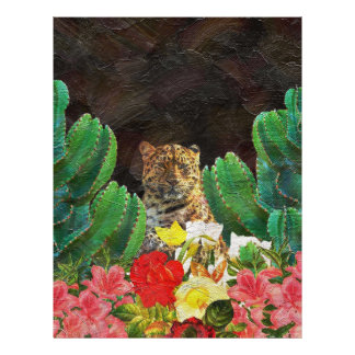 Beautiful Tiger Cactus Floral Oil Painting Letterhead