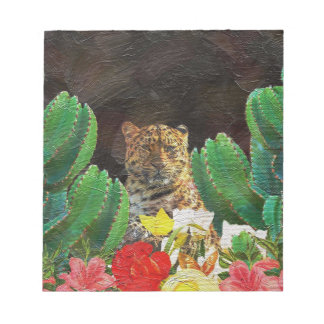 Beautiful Tiger Cactus Floral Oil Painting Notepad