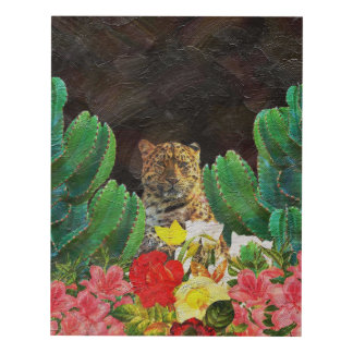 Beautiful Tiger Cactus Floral Oil Painting Panel Wall Art