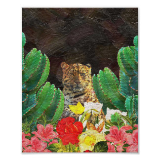 Beautiful Tiger Cactus Floral Oil Painting Photo Print