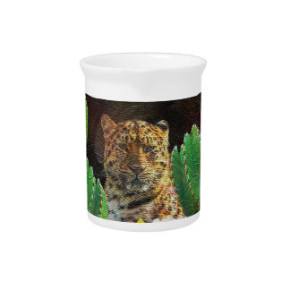 Beautiful Tiger Cactus Floral Oil Painting Pitchers