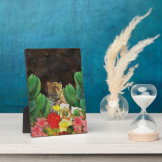 Beautiful Tiger Cactus Floral Oil Painting Plaque