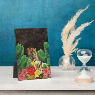 Beautiful Tiger Cactus Floral Oil Painting Plaque