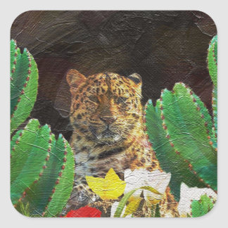 Beautiful Tiger Cactus Floral Oil Painting Square Sticker