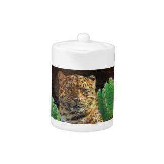 Beautiful Tiger Cactus Floral Oil Painting Teapot