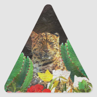 Beautiful Tiger Cactus Floral Oil Painting Triangle Sticker