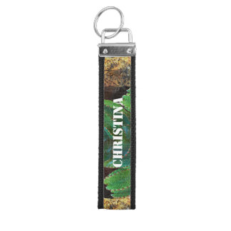 Beautiful Tiger Cactus Floral Oil Painting Wrist Keychain