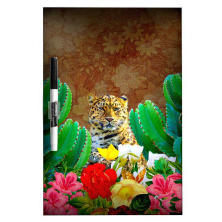 Beautiful Tiger Cactus Floral Scene Dry Erase Board