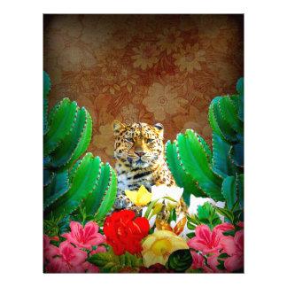 Beautiful Tiger Cactus Floral Scene Letterhead