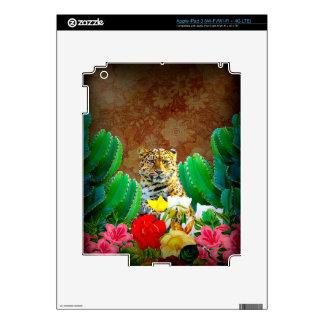 Beautiful Tiger Cactus Floral Scene Skins For iPad 3