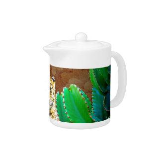 Beautiful Tiger Cactus Floral Scene Teapot