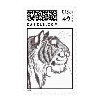 Beautiful Tiger drawing postage stamp