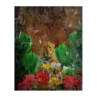 Beautiful Tiger Floral Palette Oil Acrylic Wall Art