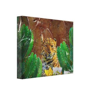 Beautiful Tiger Floral Palette Oil Canvas Print