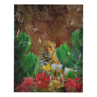 Beautiful Tiger Floral Palette Oil Panel Wall Art