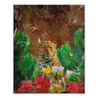 Beautiful Tiger Floral Palette Oil Photo Print