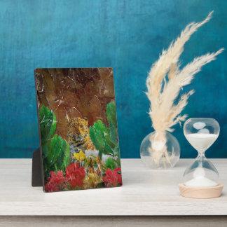 Beautiful Tiger Floral Palette Oil Plaque