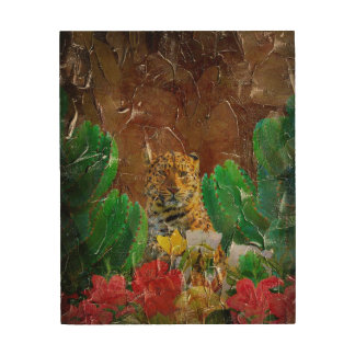 Beautiful Tiger Floral Palette Oil Wood Print