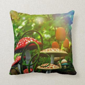Beautiful toadstool garden throw pillow