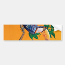 Beautiful Toucan Bird Painting Bumper Sticker