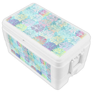 Beautiful,tourqiuse,metallic,flora,Pattern Chest Cooler
