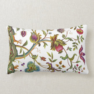 Beautiful Traditional Jacobean Crewel Embroidery Lumbar Pillow