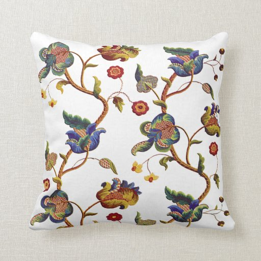 Beautiful traditional jacobean crewel embroidery pillows