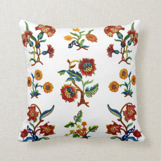 Beautiful Traditional Jacobean Crewel Embroidery Throw Pillow