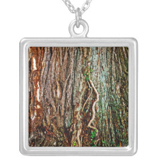 Beautiful Tree Bark Texture Silver Plated Necklace