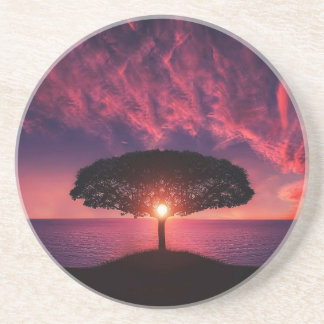 Beautiful tree colorful nature scenery drink coaster