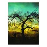 Beautiful Tree Silhouette at Sunset Ombre Aqua Invites