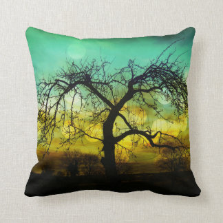 Beautiful Tree Silhouette at Sunset Ombre Aqua Throw Pillow