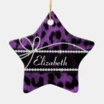 Beautiful trendy faux purple leopard animal print Double-Sided star ceramic christmas ornament
