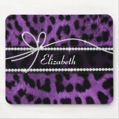 Beautiful Trendy Faux Purple Leopard Animal Print Mouse Pad at Zazzle