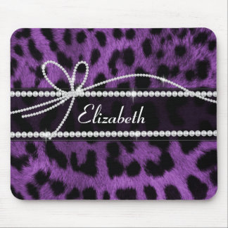 Beautiful trendy faux purple leopard animal print mouse pad