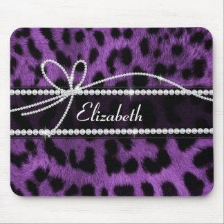 Beautiful trendy faux purple leopard animal print mouse pad