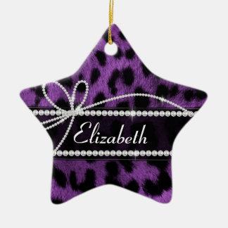 Beautiful trendy faux purple leopard animal print ornaments