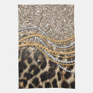 Beautiful trendy girly leopard animal print kitchen towel