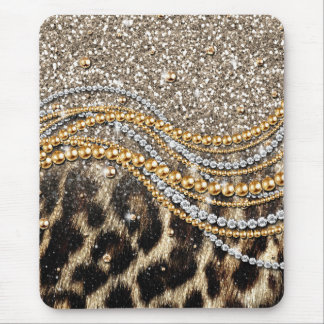 Beautiful trendy girly leopard animal print mouse pad