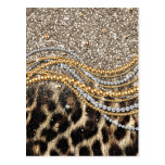 Beautiful trendy girly leopard animal print postcard