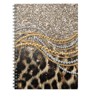 Beautiful trendy girly leopard animal print spiral notebook